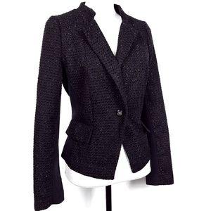 Worthington Black Metallic Tweed Jacket